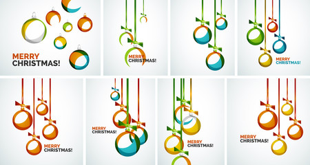 Merry Christmas modern cards - abstract baubles