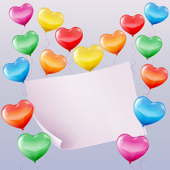 Heart shaped balloons background