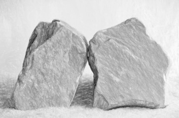 two stones  - illustration based on own photo image