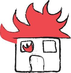 cartoon fire warning