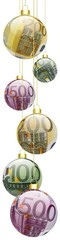 Bannière boules de noël 100, 200, 500 €