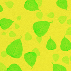 yellow wall texture with green leaf paint,for background