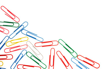colorful paper clips isolated on white with copy space