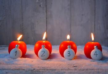 Weihnachtskarte - vier Adventskerzen