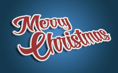 Merry Christmas 3D text red background blue