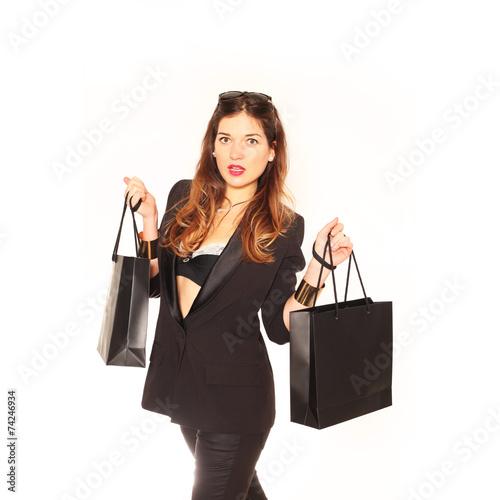 canvas print picture Frau nach Shoppingtour