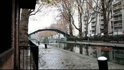 Canal Saint Martin in Paris, France.