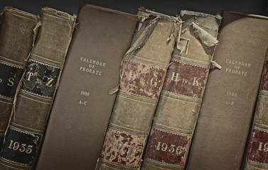 Old probate books in a library