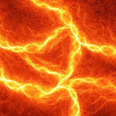 Hot fiery lightning, burning electrical background