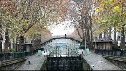 Canal Saint Martin in Paris, France.