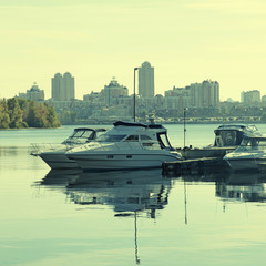 boats on the Dnieper River in Kiev, Ukraine.