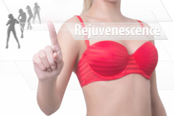 woman pressing rejuvenescence button