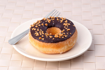 crocanti donut on plate and fork