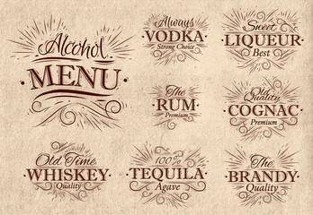 Set alcohol menu retro