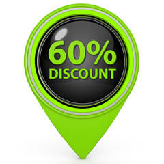 Discount sixty percent pointer icon on white background