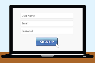 sign up page on the laptop screen