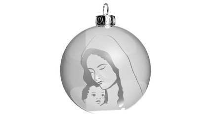 Bauble with silver Maria and Jesus