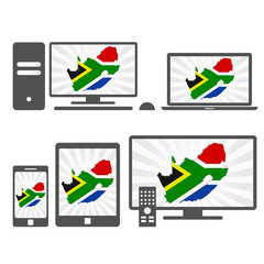 Electronic devices with the map of South Africa