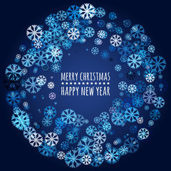 Round frame from abstract glowing snowflakes. Vector holiday bac