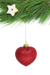 christmas fir tree and red glitter bauble