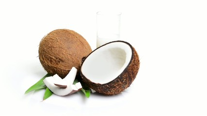 coconut rotating on white background