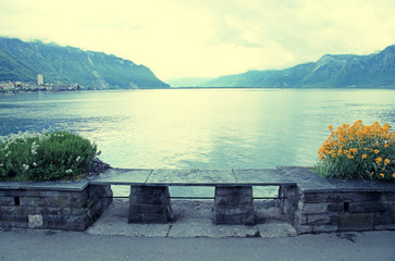 Stone bench at lake Geneva in Montreux (Switzerland)