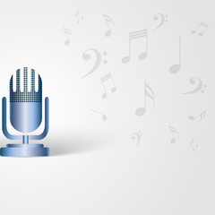 Music background with microphone shape and musical notes