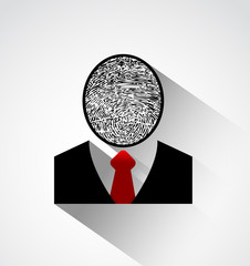 Person silhouette finger print head ,Protect individual identity
