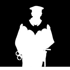 policeman with bat vector silhouette