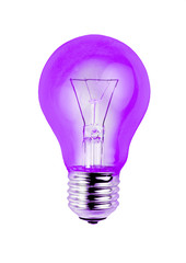 Purple light bulb isolated on white background.