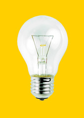 Light bulb isolated on yellow background.