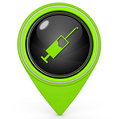 Injection pointer icon on white background