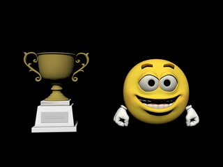 Emoticon the winner - 3d render