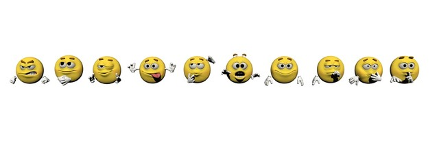 Several emoticon - 3d render
