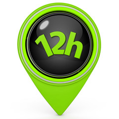 12 hours pointer icon on white background