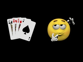 Emoticon and cards of games - 3d render