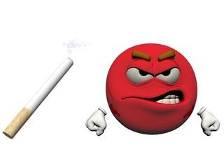 Emoticon and a cigarette - 3d render