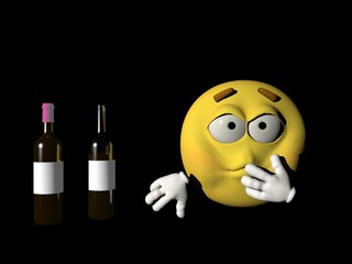 Emoticon sick person of the alcohol - 3d render