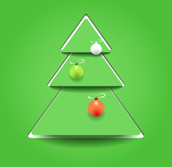 Christmas tree as stylized paper applique
