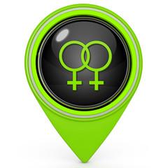 Lesbian pointer icon on white background