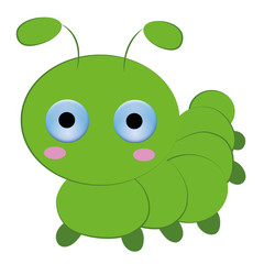 Cute caterpillar cartoon on white background