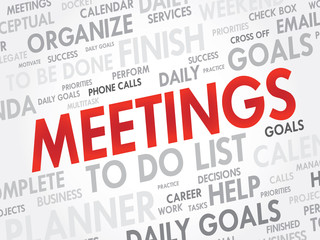 Word cloud of MEETINGS related items, vector background