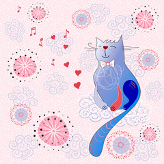 Сard with cute cat
