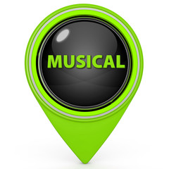 Musical pointer icon on white background