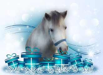 White pony with christmas gifts