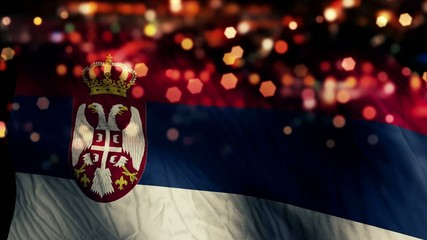 Serbia Flag Light Night Bokeh Abstract Loop Animation