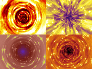 Set of fire tunnel generated textures