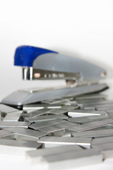 Staples in closeup view with stapler