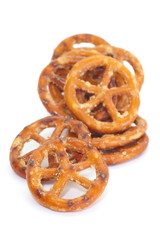 baked bread pretzel snack on white background