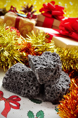 candy coal and christmas gifts